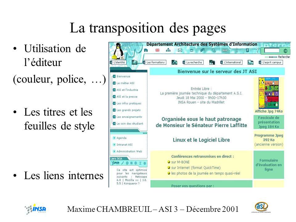 La transposition des pages Utilisation de léditeur (couleur, police, …) Les titres et les feuilles de style Les liens internes Maxime CHAMBREUIL – ASI 3 – Décembre 2001