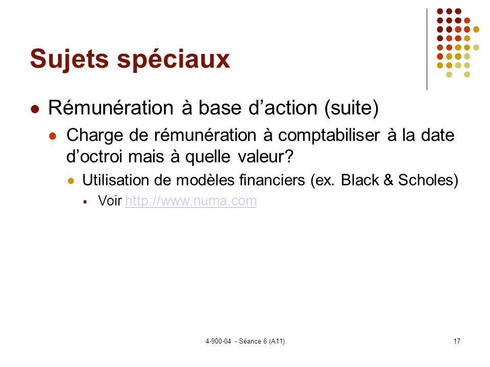 4-900-04 - Séance 6 (A11)17 Sujets spéciaux Rémunération à base daction (suite) Charge de rémunération à comptabiliser à la date doctroi mais à quelle valeur.