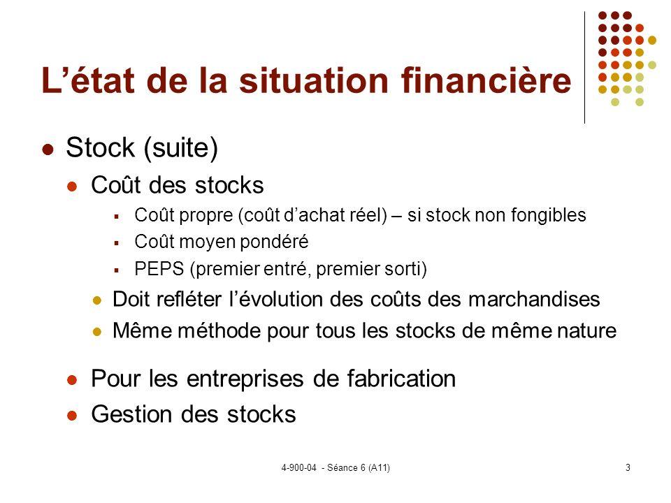 4-900-04 - Séance 6 (A11)24 Sujets spéciaux Les normes pour les ECF (suite) Cadre conceptuel Le même que pour les IFRS mais beaucoup de poids au concept avantages – coûts Évaluation – au coût historique plutôt quà la juste valeur comme les IFRS États financiers État des résultats - pas de gains/pertes latents donc….