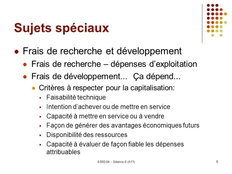4-900-04 - Séance 6 (A11)8 Sujets spéciaux Frais de recherche et développement Frais de recherche – dépenses dexploitation Frais de développement...