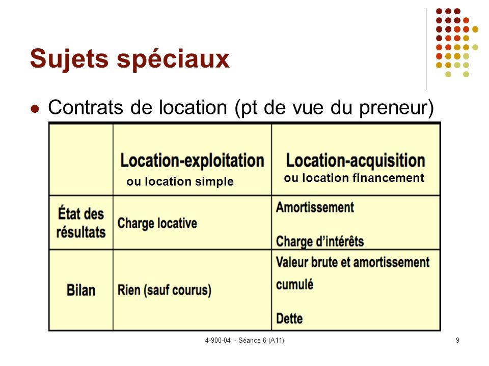 4-900-04 - Séance 6 (A11)30 Sujets spéciaux Les normes pour les ECF (suite) Les frais de développement (actifs incorporels générés à linterne) Choix de capitaliser ou de passer en charge.