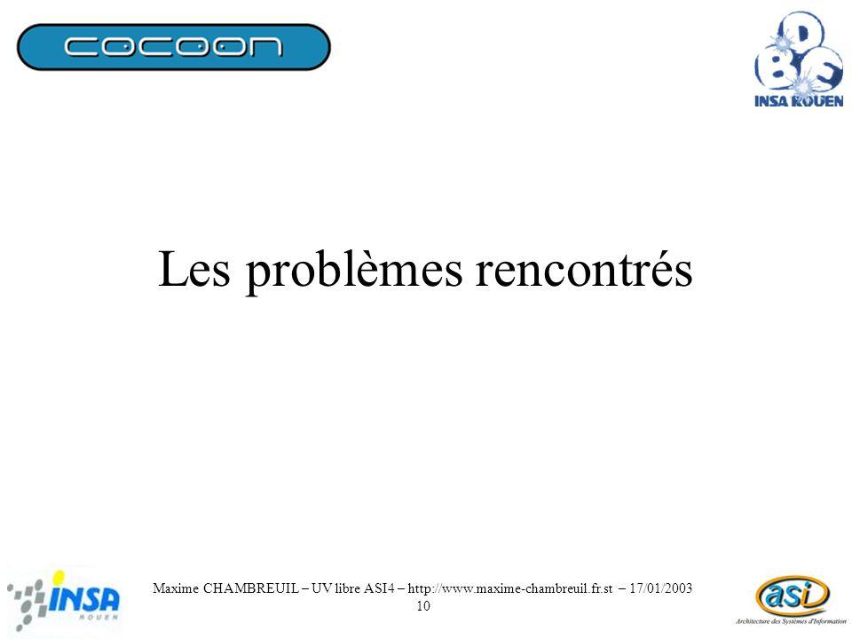 Les problèmes rencontrés Maxime CHAMBREUIL – UV libre ASI4 – http://www.maxime-chambreuil.fr.st – 17/01/2003 10