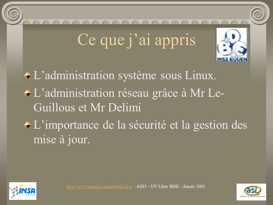Ce que jai appris Ladministration système sous Linux. Ladministration réseau grâce à Mr Le- Guillous et Mr Delimi Limportance de la sécurité et la ges