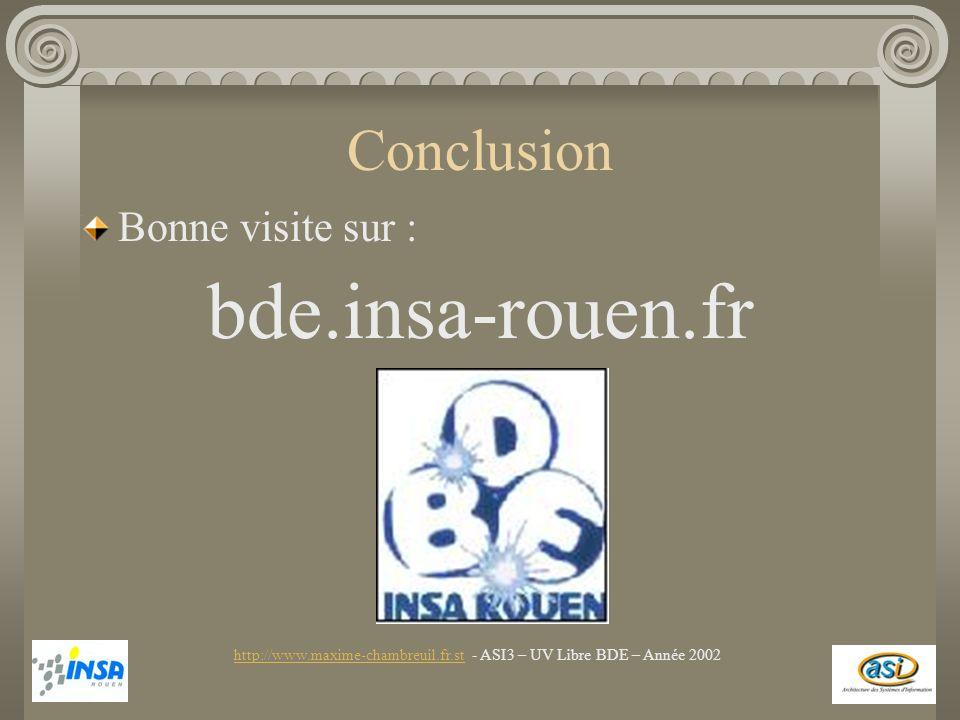 Conclusion Bonne visite sur : bde.insa-rouen.fr http://www.maxime-chambreuil.fr.sthttp://www.maxime-chambreuil.fr.st - ASI3 – UV Libre BDE – Année 200