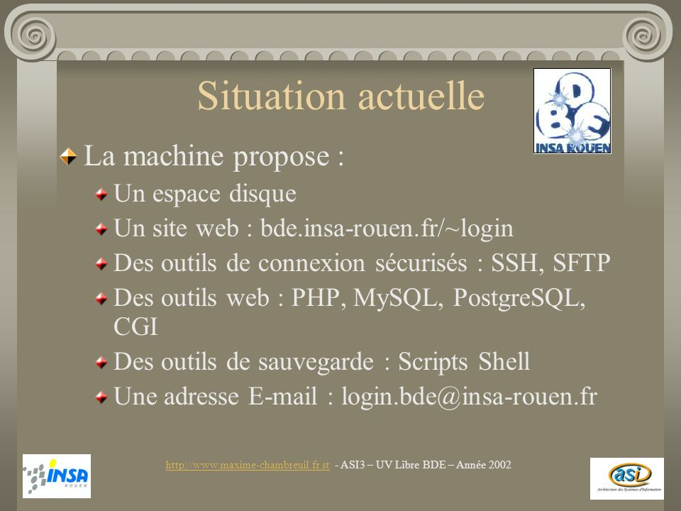 Situation actuelle La machine propose : Un espace disque Un site web : bde.insa-rouen.fr/~login Des outils de connexion sécurisés : SSH, SFTP Des outils web : PHP, MySQL, PostgreSQL, CGI Des outils de sauvegarde : Scripts Shell Une adresse E-mail : login.bde@insa-rouen.fr http://www.maxime-chambreuil.fr.sthttp://www.maxime-chambreuil.fr.st - ASI3 – UV Libre BDE – Année 2002