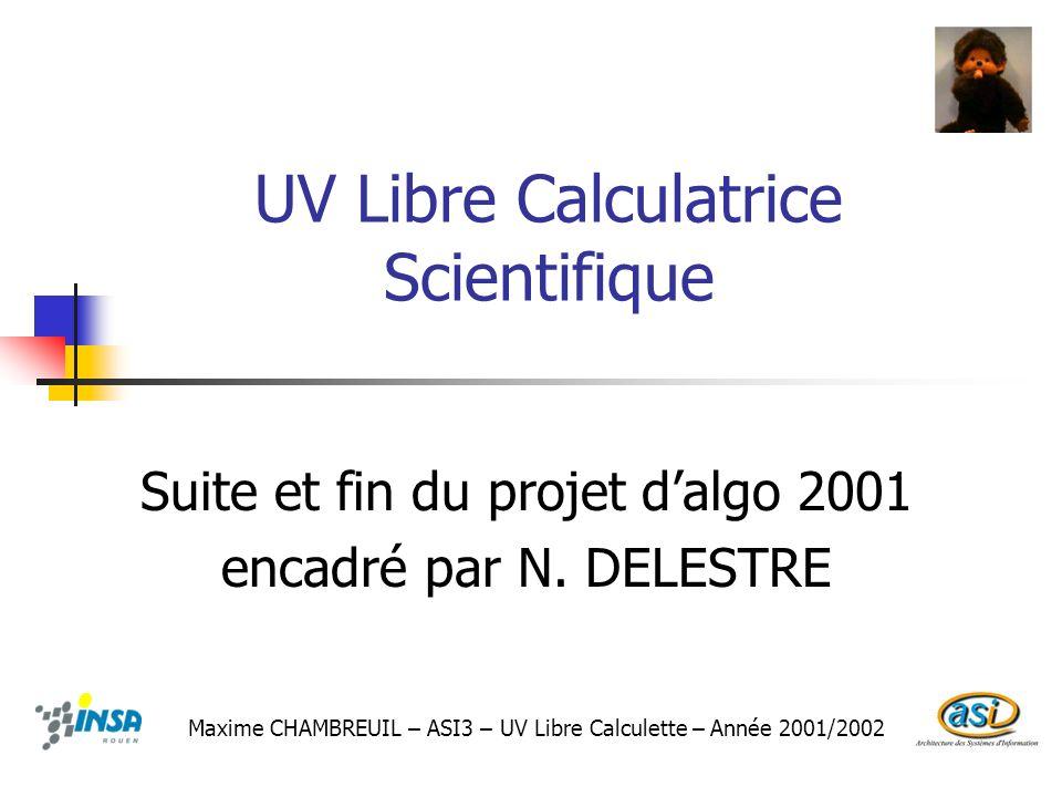 UV Libre Calculatrice Scientifique Suite et fin du projet dalgo 2001 encadré par N. DELESTRE Maxime CHAMBREUIL – ASI3 – UV Libre Calculette – Année 20