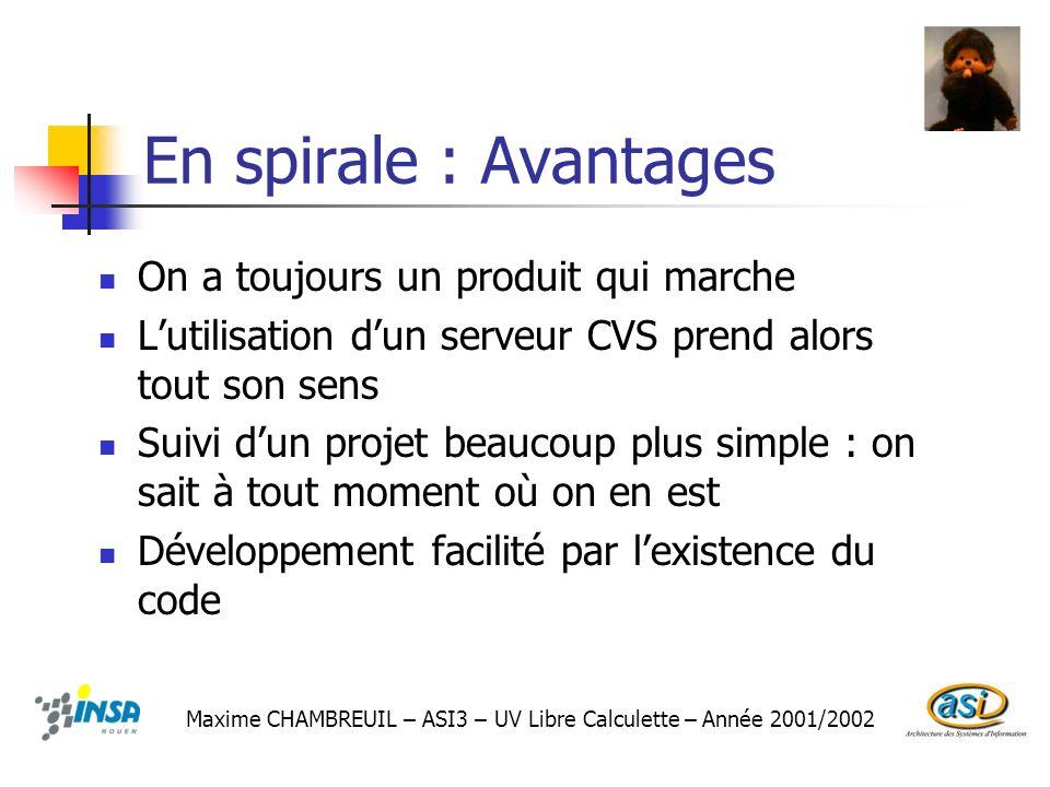 En spirale : Avantages On a toujours un produit qui marche Lutilisation dun serveur CVS prend alors tout son sens Suivi dun projet beaucoup plus simpl