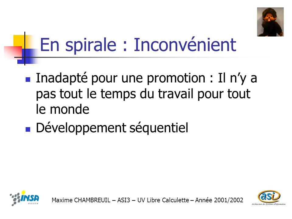 En spirale : Inconvénient Inadapté pour une promotion : Il ny a pas tout le temps du travail pour tout le monde Développement séquentiel Maxime CHAMBR