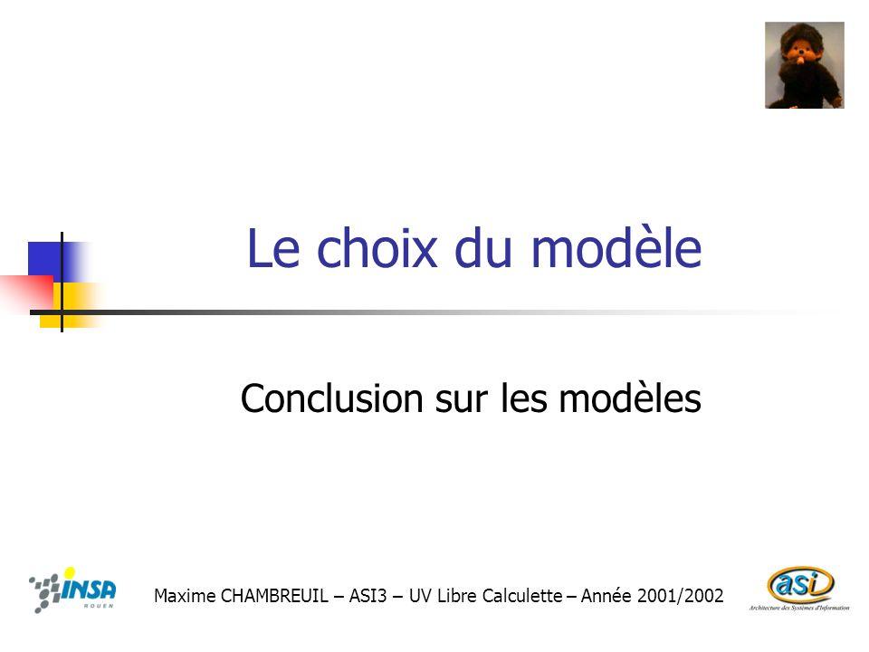 Le choix du modèle Conclusion sur les modèles Maxime CHAMBREUIL – ASI3 – UV Libre Calculette – Année 2001/2002
