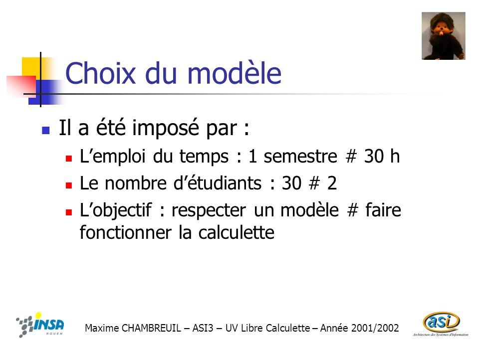 Choix du modèle Il a été imposé par : Lemploi du temps : 1 semestre # 30 h Le nombre détudiants : 30 # 2 Lobjectif : respecter un modèle # faire fonct