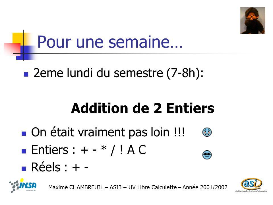 Pour une semaine… 2eme lundi du semestre (7-8h): Maxime CHAMBREUIL – ASI3 – UV Libre Calculette – Année 2001/2002 Addition de 2 Entiers On était vraim