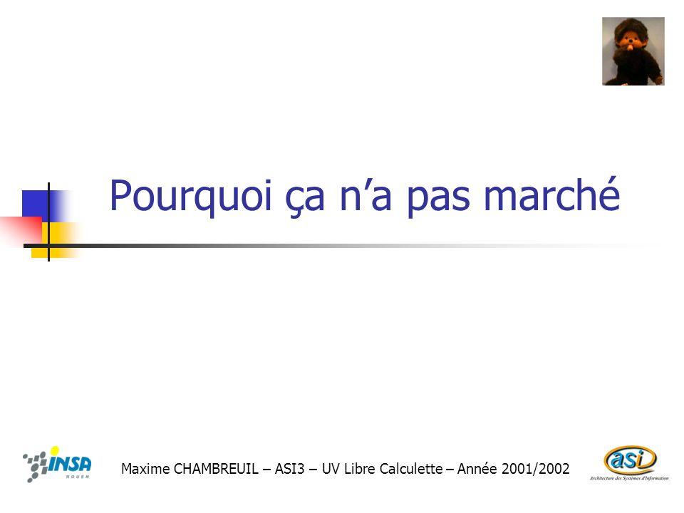 Pourquoi ça na pas marché Maxime CHAMBREUIL – ASI3 – UV Libre Calculette – Année 2001/2002
