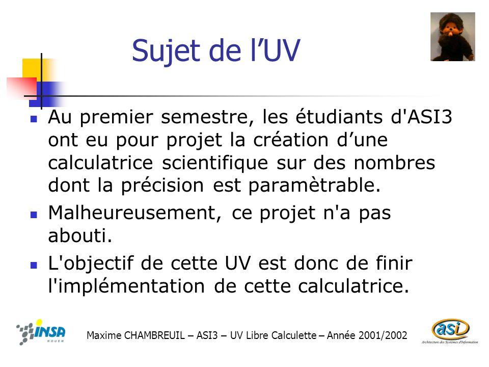 Sujet de lUV Au premier semestre, les étudiants d'ASI3 ont eu pour projet la création dune calculatrice scientifique sur des nombres dont la précision