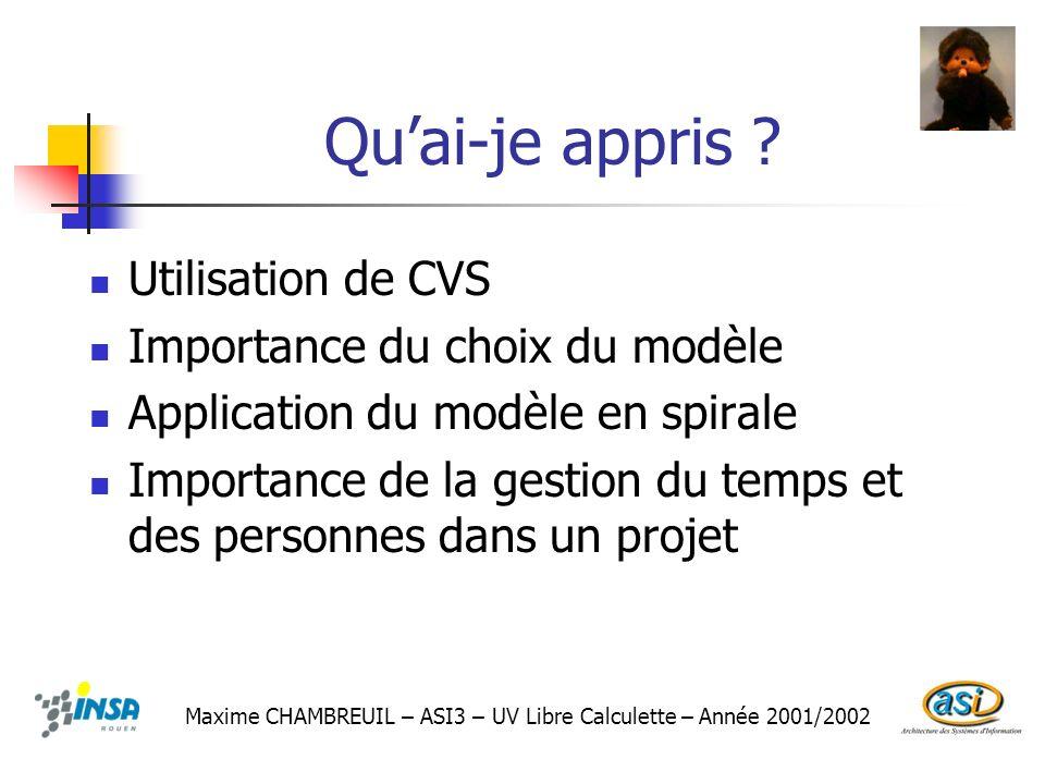 Quai-je appris ? Maxime CHAMBREUIL – ASI3 – UV Libre Calculette – Année 2001/2002 Utilisation de CVS Importance du choix du modèle Application du modè