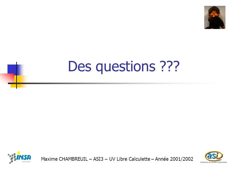 Des questions ??? Maxime CHAMBREUIL – ASI3 – UV Libre Calculette – Année 2001/2002