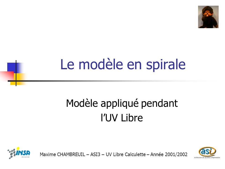 Le modèle en spirale Modèle appliqué pendant lUV Libre Maxime CHAMBREUIL – ASI3 – UV Libre Calculette – Année 2001/2002