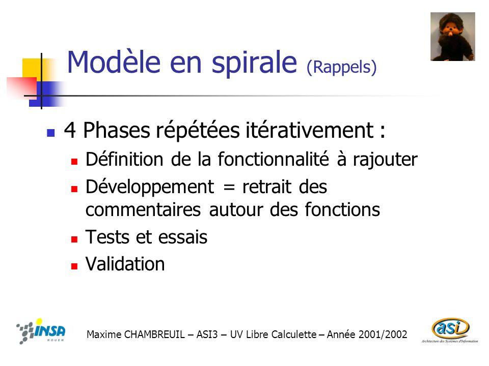 Modèle en spirale (Rappels) 4 Phases répétées itérativement : Définition de la fonctionnalité à rajouter Développement = retrait des commentaires auto