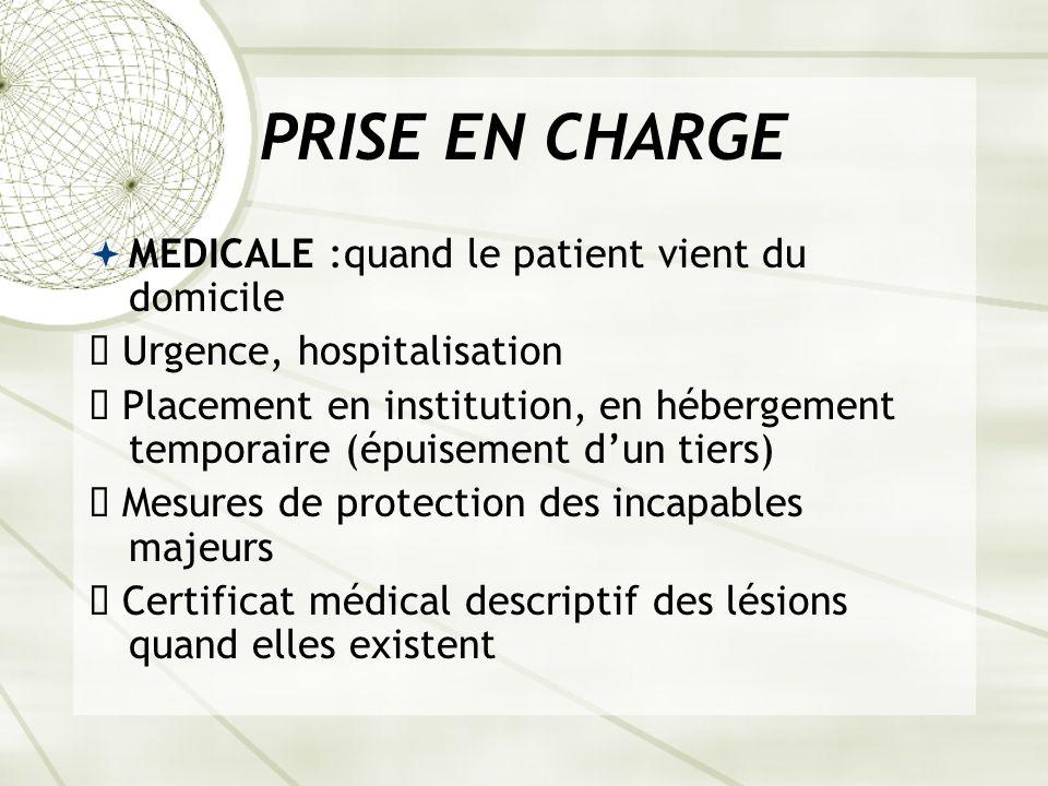 PRISE EN CHARGE MEDICALE :quand le patient vient du domicile ê Urgence, hospitalisation ê Placement en institution, en hébergement temporaire (épuisement dun tiers) ê Mesures de protection des incapables majeurs ê Certificat médical descriptif des lésions quand elles existent