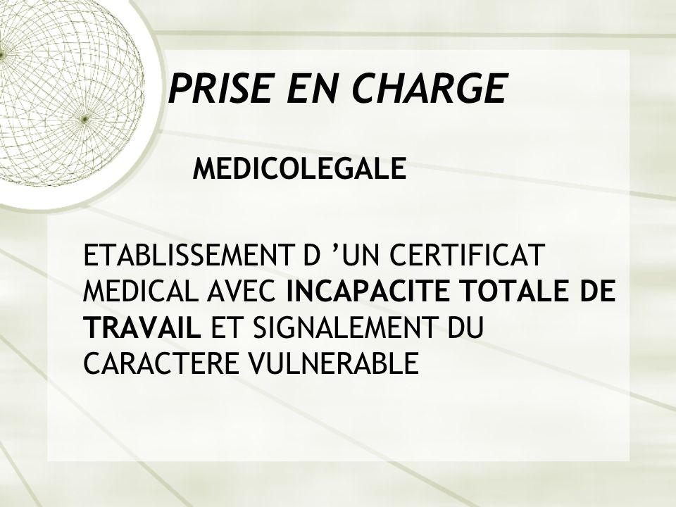 PRISE EN CHARGE MEDICOLEGALE ETABLISSEMENT D UN CERTIFICAT MEDICAL AVEC INCAPACITE TOTALE DE TRAVAIL ET SIGNALEMENT DU CARACTERE VULNERABLE