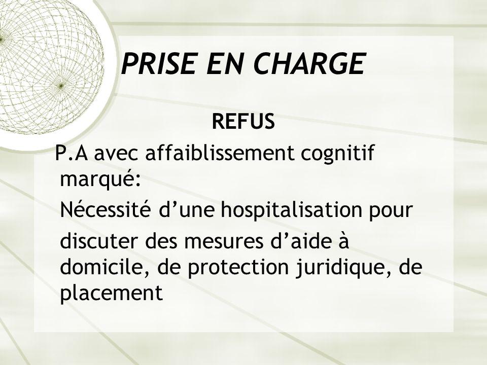PRISE EN CHARGE REFUS P.A avec affaiblissement cognitif marqué: Nécessité dune hospitalisation pour discuter des mesures daide à domicile, de protection juridique, de placement