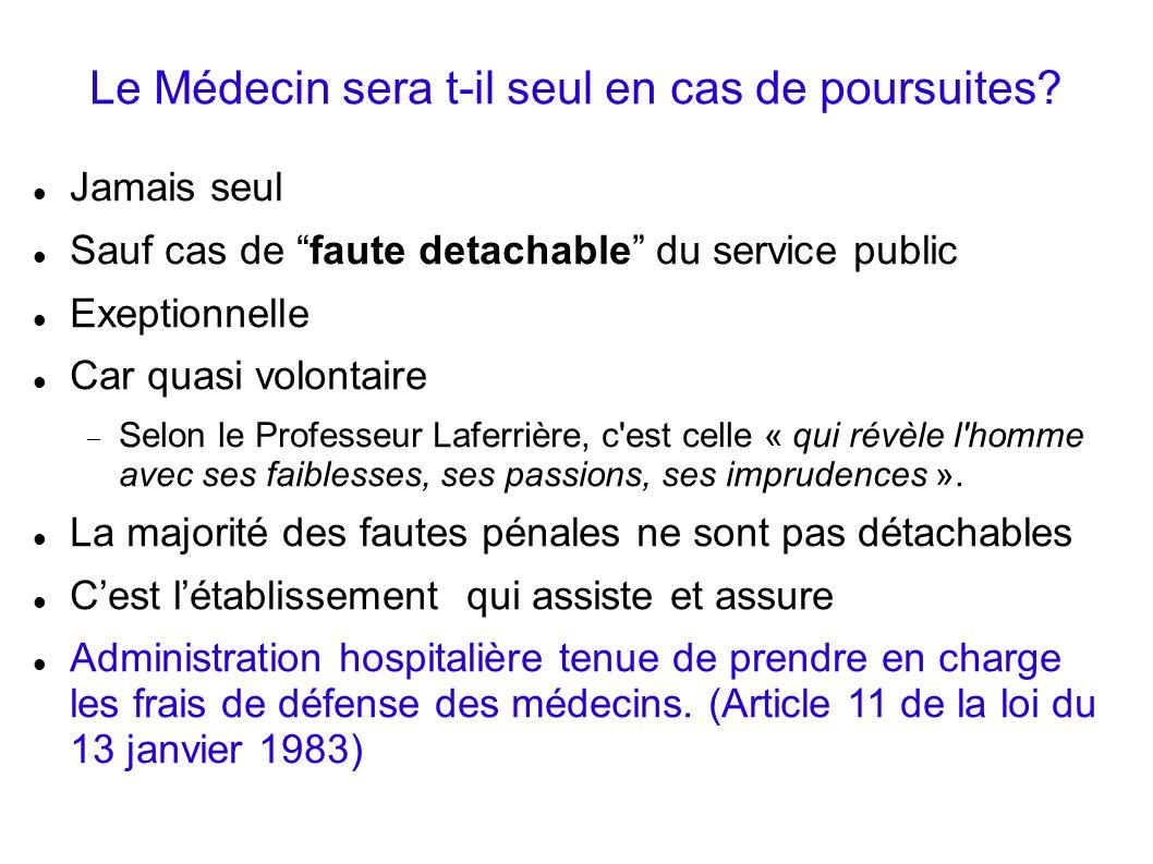 Le Médecin sera t-il seul en cas de poursuites? Jamais seul Sauf cas de faute detachable du service public Exeptionnelle Car quasi volontaire Selon le