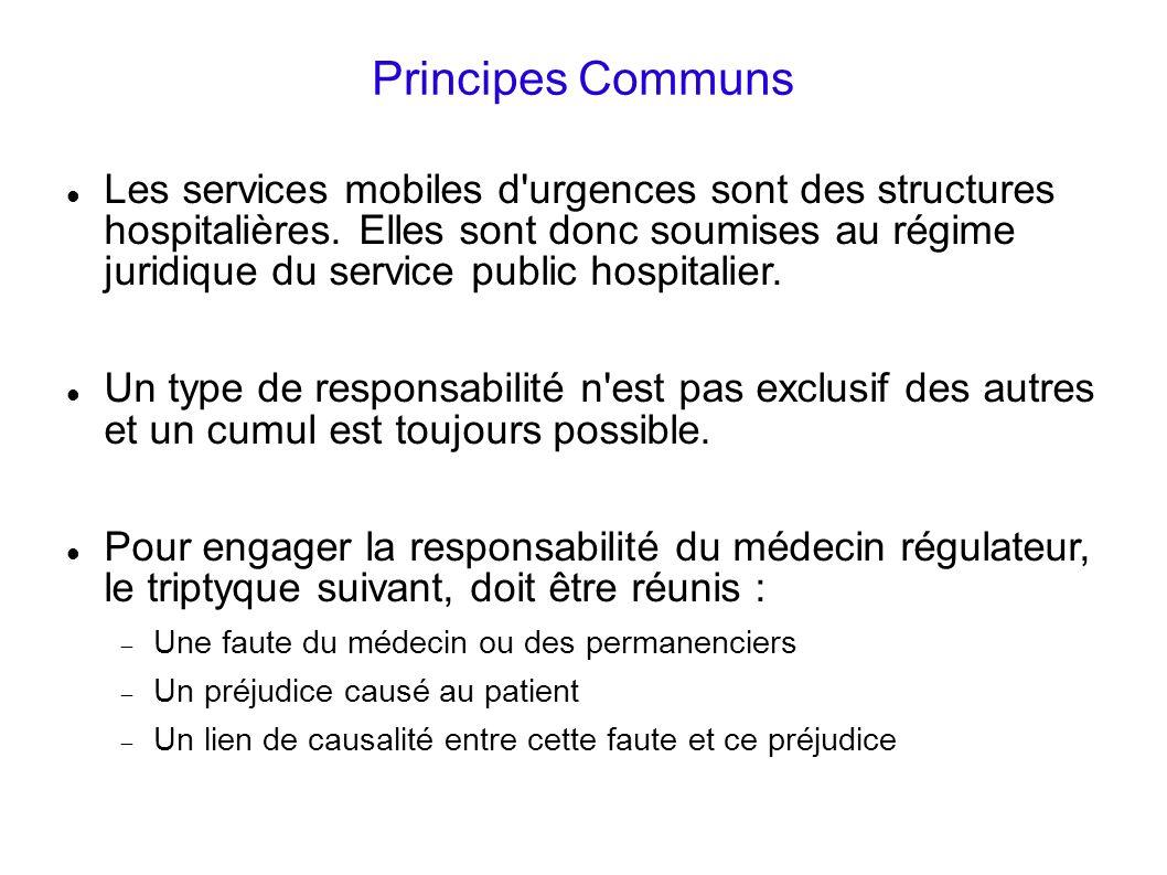 Principes Communs Les services mobiles d'urgences sont des structures hospitalières. Elles sont donc soumises au régime juridique du service public ho