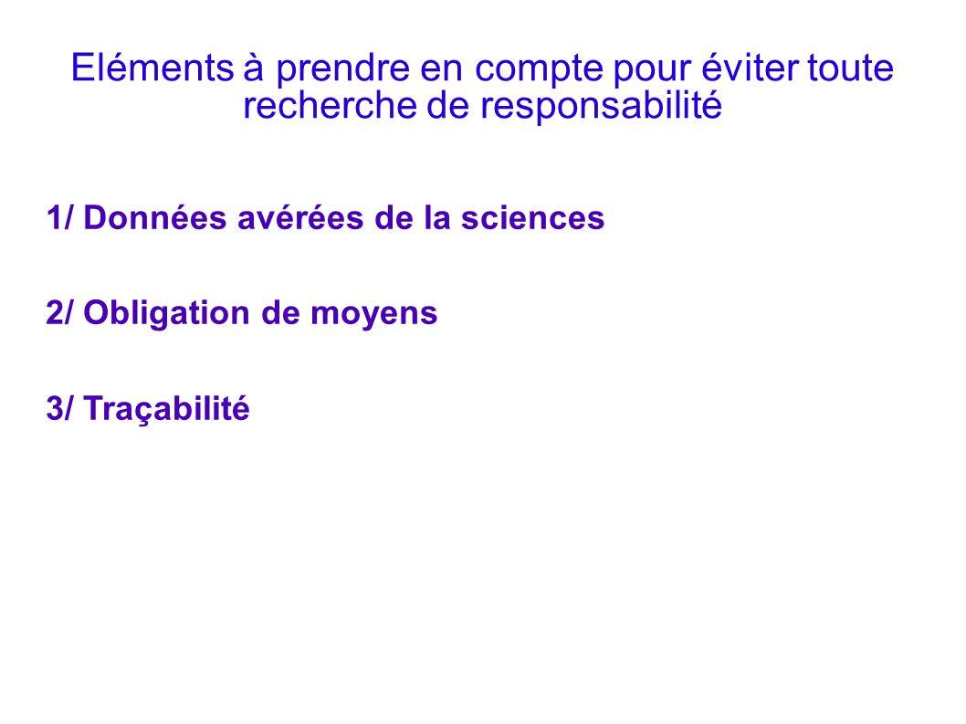 Eléments à prendre en compte pour éviter toute recherche de responsabilité 1/ Données avérées de la sciences 2/ Obligation de moyens 3/ Traçabilité