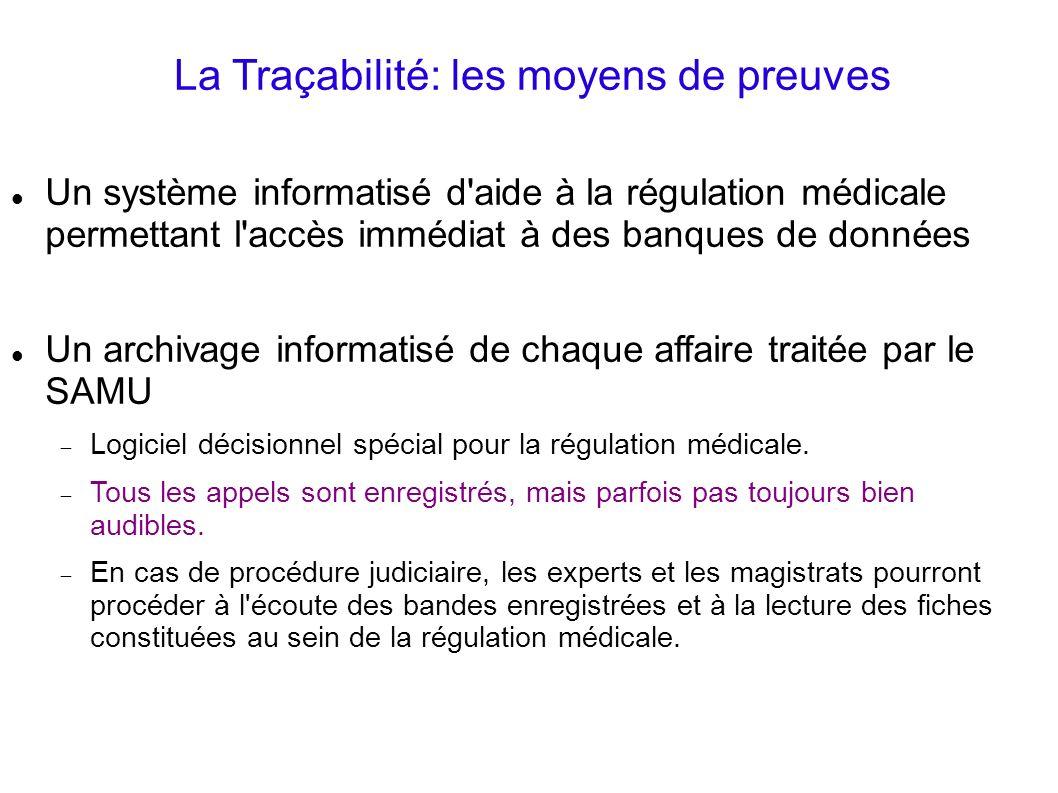 La Traçabilité: les moyens de preuves Un système informatisé d'aide à la régulation médicale permettant l'accès immédiat à des banques de données Un a