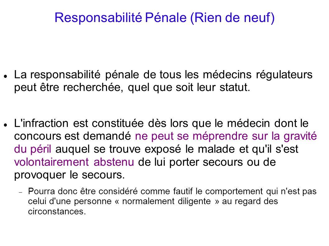 Responsabilité Pénale (Rien de neuf) La responsabilité pénale de tous les médecins régulateurs peut être recherchée, quel que soit leur statut. L'infr