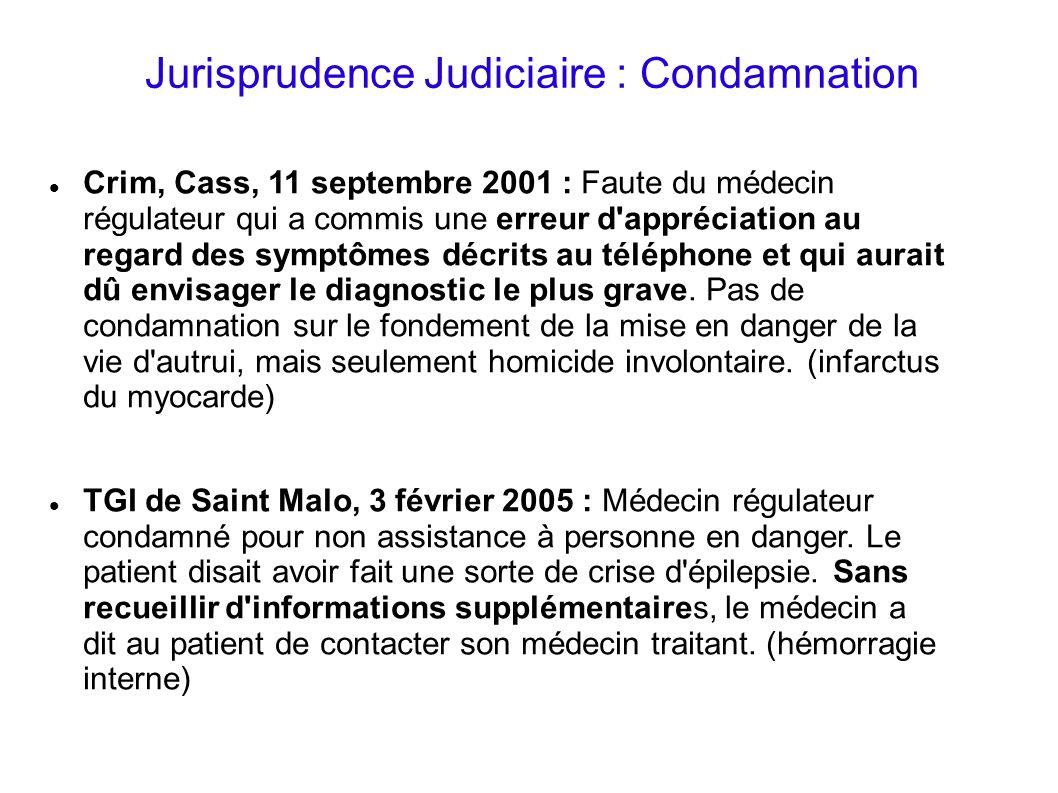 Jurisprudence Judiciaire : Condamnation Crim, Cass, 11 septembre 2001 : Faute du médecin régulateur qui a commis une erreur d'appréciation au regard d