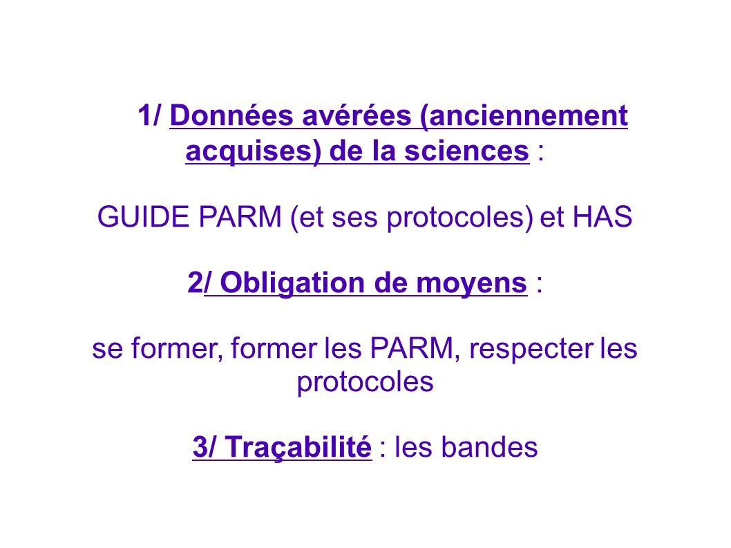 1/ Données avérées (anciennement acquises) de la sciences : GUIDE PARM (et ses protocoles) et HAS 2/ Obligation de moyens : se former, former les PARM
