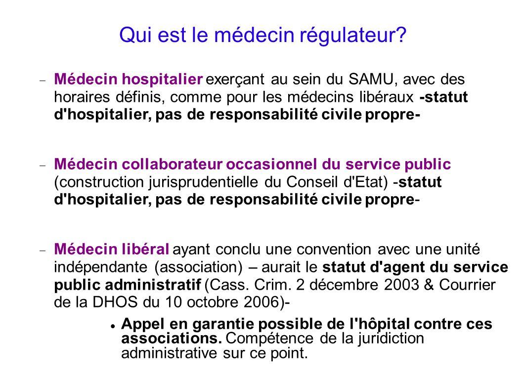 Qui est le médecin régulateur? Médecin hospitalier exerçant au sein du SAMU, avec des horaires définis, comme pour les médecins libéraux -statut d'hos