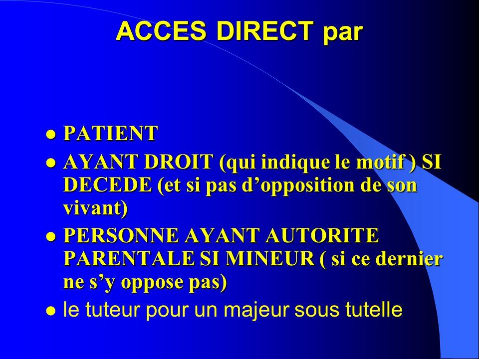 Accès direct au dossier par le patient DECRET DU 29/04/2002 DECRET DU 29/04/2002 l concerne tous les dossiers, y compris : –les dossiers des établisse