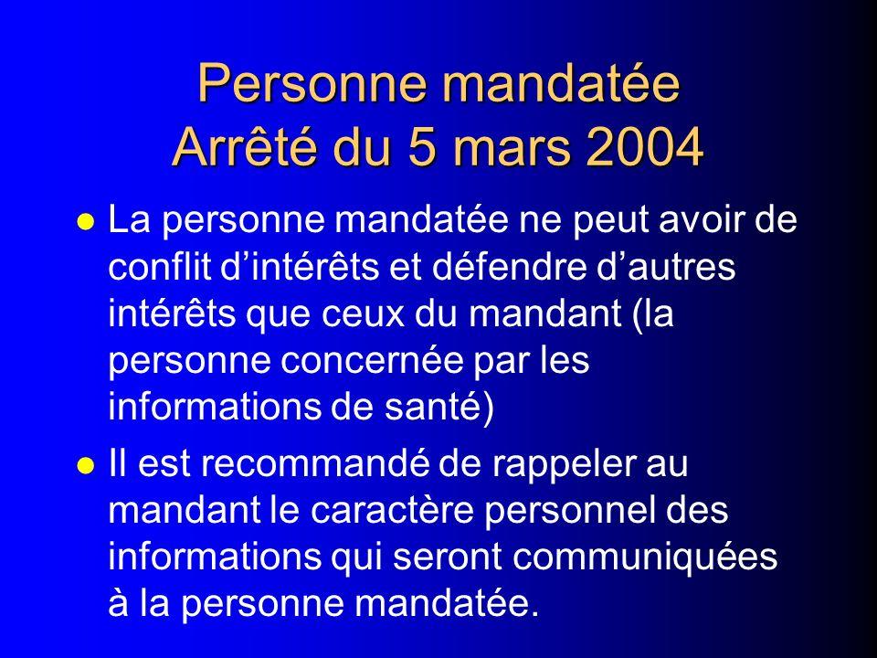 Personne mandatée +++ Arrêté du 5 mars 2004 l Communication à une personne mandatée –par le patient –par ses représentants légaux (mineur ou majeur so