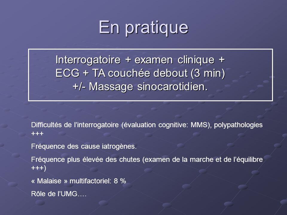 En pratique Interrogatoire + examen clinique + ECG + TA couchée debout (3 min) +/- Massage sinocarotidien. Difficultés de linterrogatoire (évaluation