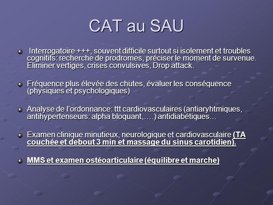 CAT au SAU Interrogatoire +++, souvent difficile surtout si isolement et troubles cognitifs: recherche de prodromes, préciser le moment de survenue. E