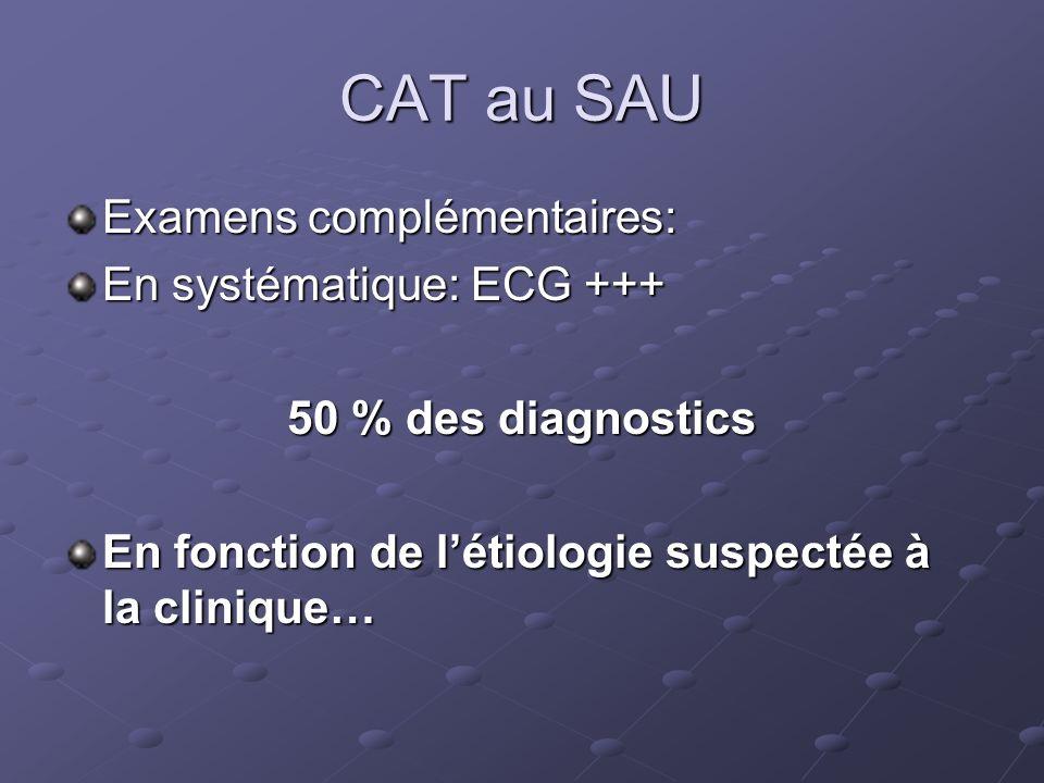 CAT au SAU Examens complémentaires: En systématique: ECG +++ 50 % des diagnostics En fonction de létiologie suspectée à la clinique…