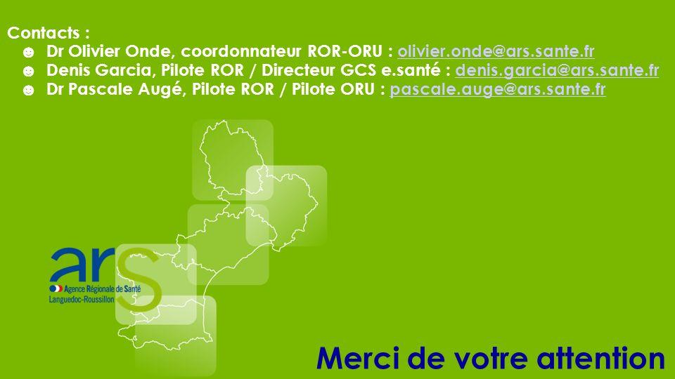Merci de votre attention Contacts : Dr Olivier Onde, coordonnateur ROR-ORU : olivier.onde@ars.sante.frolivier.onde@ars.sante.fr Denis Garcia, Pilote R