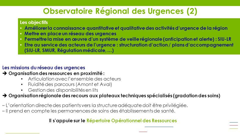 Le Système dInformation des Urgences du Languedoc-Roussillon (SIU-LR) Modernisation du projet avec comme objectif principal le retour dinformation vers les établissements et lanalyse de données régionales par lORU et lARS (CIRE) Appel doffre (marché public) : juillet 2012 – Choix ENOVACOM : octobre 2012 Réunions de cadrage avec les établissements : novembre 2012 Bascule des RPU – E 2007 sur nouveau : décembre 2012 Envoi de RPU – E 2013 (nouveau format) dès que létablissement a réalisé la migration nécessaire : en cours Les tableaux de bord ne seront disponibles quavec la version RPU – E 2013 Nécessité investissement équipes informatiques (technique) et médicales (qualité des données) Observatoire Régional des Urgences (3) Les commissions opérationnelles de lORU (animateur) Transports périnatals (Pr Jean-Emmanuel de la Coussaye) Filière de prise en charge des traumatisés graves (Dr Isabelle Giraud) Médecins correspondants SAMU et prise en charge des populations à plus de 30 min dun SU (Dr Jean Mané) Filière de prise en charge des personnes âgées, amont et aval des urgences (Jean-Marie Bolliet)