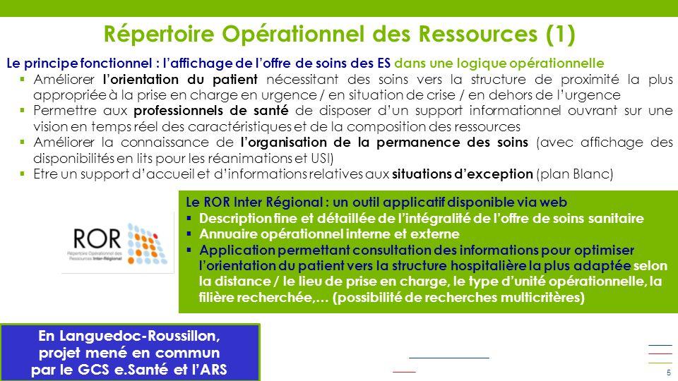 Répertoire Opérationnel des Ressources (1) 5 Le principe fonctionnel : laffichage de loffre de soins des ES dans une logique opérationnelle Améliorer