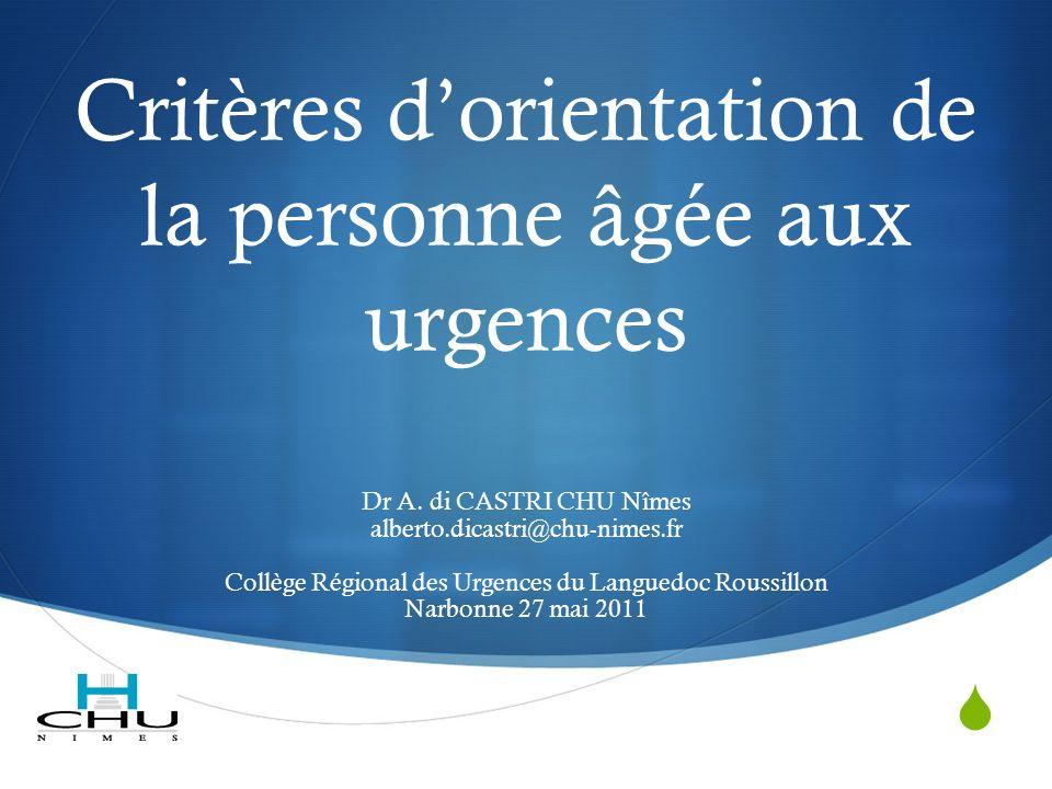 Critères dorientation de la personne âgée aux urgences Dr A.