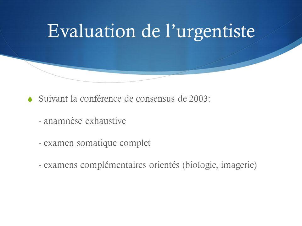 Evaluation de lurgentiste Suivant la conférence de consensus de 2003: - anamnèse exhaustive - examen somatique complet - examens complémentaires orientés (biologie, imagerie)