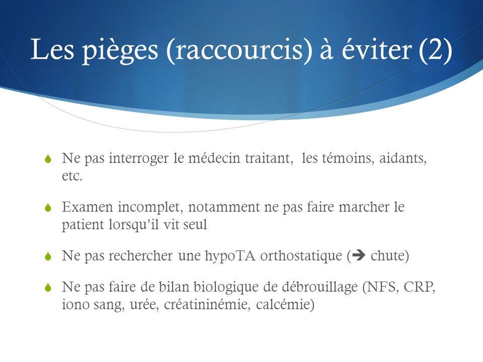 Les pièges (raccourcis) à éviter (2) Ne pas interroger le médecin traitant, les témoins, aidants, etc.