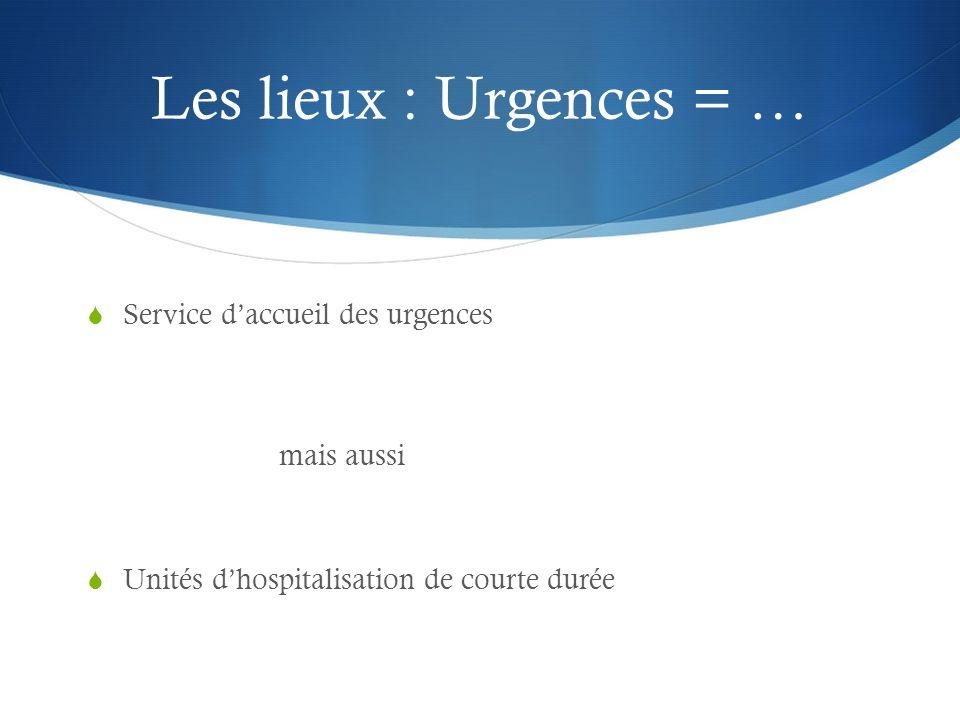 Les lieux : Urgences = … Service daccueil des urgences mais aussi Unités dhospitalisation de courte durée
