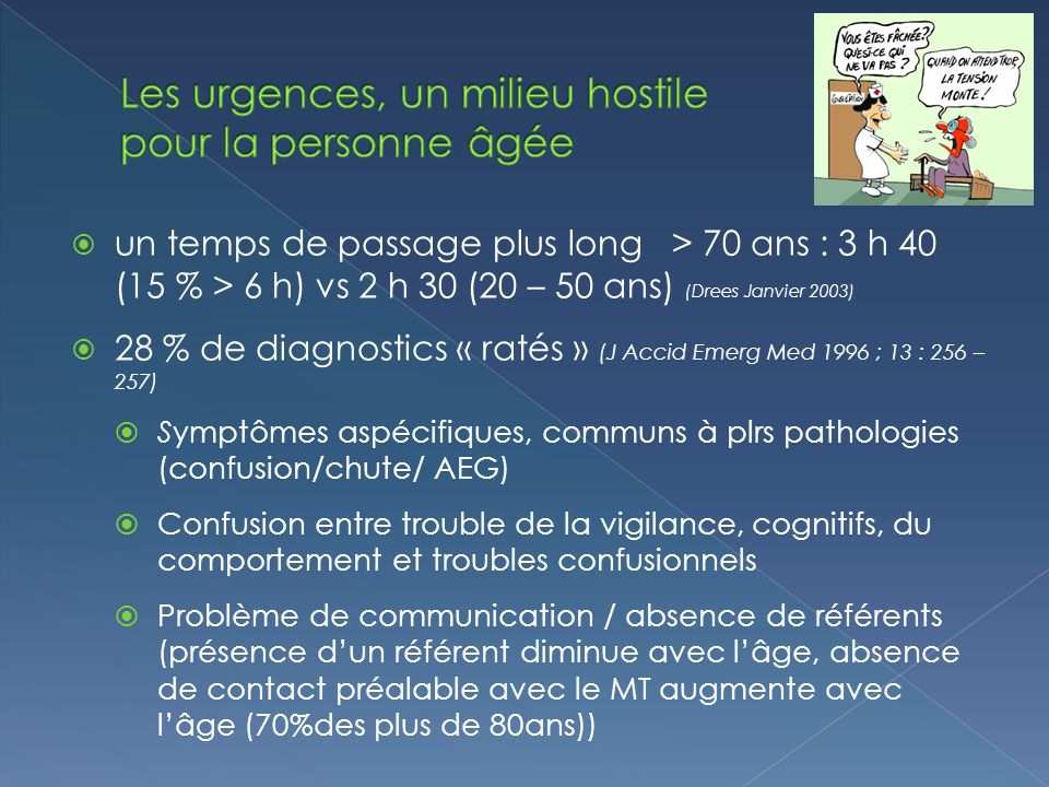 un temps de passage plus long > 70 ans : 3 h 40 (15 % > 6 h) vs 2 h 30 (20 – 50 ans) (Drees Janvier 2003) 28 % de diagnostics « ratés » (J Accid Emerg