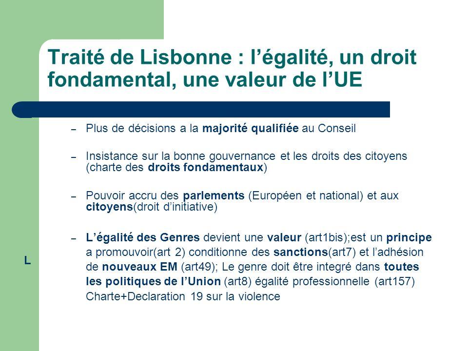 Traité de Lisbonne : légalité, un droit fondamental, une valeur de lUE – Plus de décisions a la majorité qualifiée au Conseil – Insistance sur la bonn