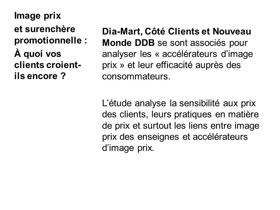 2 Dia-Mart, Côté Clients et Nouveau Monde DDB se sont associés pour analyser les « accélérateurs dimage prix » et leur efficacité auprès des consommateurs.