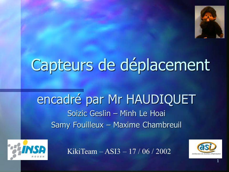 1 Capteurs de déplacement encadré par Mr HAUDIQUET Soizic Geslin – Minh Le Hoai Samy Fouilleux – Maxime Chambreuil KikiTeam – ASI3 – 17 / 06 / 2002