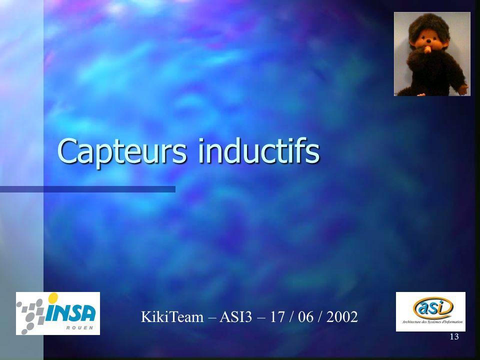 13 Capteurs inductifs KikiTeam – ASI3 – 17 / 06 / 2002