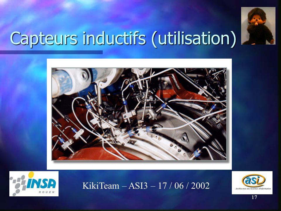 17 Capteurs inductifs (utilisation) KikiTeam – ASI3 – 17 / 06 / 2002